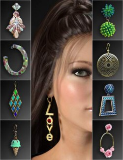 Statement Earrings Megapack for Genesis 8 and 8.1 Females