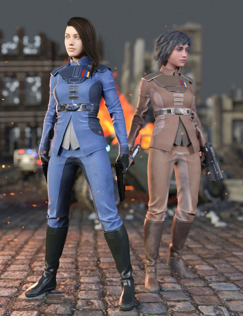 Sci-Fi Sergeant Outfit for Genesis 8.1 Females