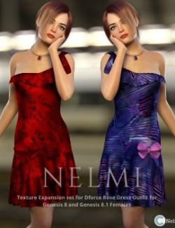 NELMI- dForce Rose Dress Outfit for Genesis 8 Female(s)