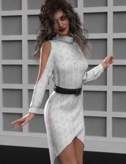 dForce Cold Shoulder Dress for Genesis 8 and 8.1 Females