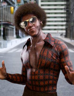 Trevon's 70s Style Character Hair and Outfit for Genesis 8.1 Male