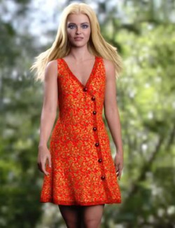 dForce Asymmetric Button Dress for Genesis 8 Females