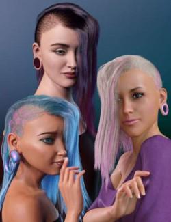 WD Salon: Side Shave Shag dForce Hair for Genesis 8.1 Female