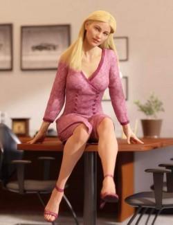 dforce Asymmetric Button Dress 2 for Genesis 8 Females