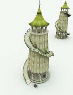 Elven Village Grain Tower for Poser