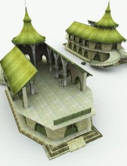 Elven Village Warehouse for Poser