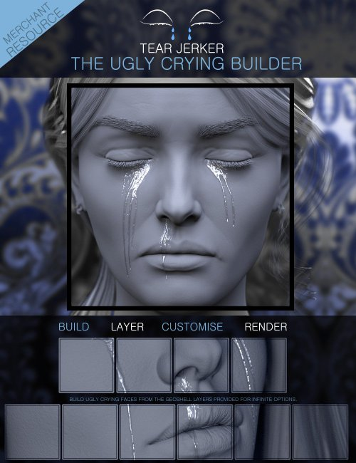 Tear Jerker the Ugly Crying Builder for Genesis 3, 8 and 8.1 Females Merchant Resource