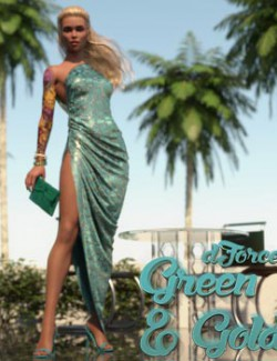 dForce Green & Gold Dress for Genesis 8 and 8.1 Female