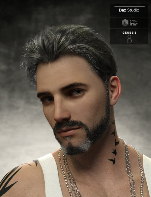 Yoan Mature Hair and Beard for Genesis 8 and 8.1 Males