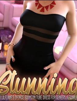 Stunning for dForce Bodycon Tube Dress for Genesis 8 Females