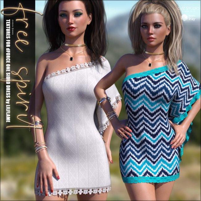 Free Spirit Textures for dForce One Sided Dress G8F