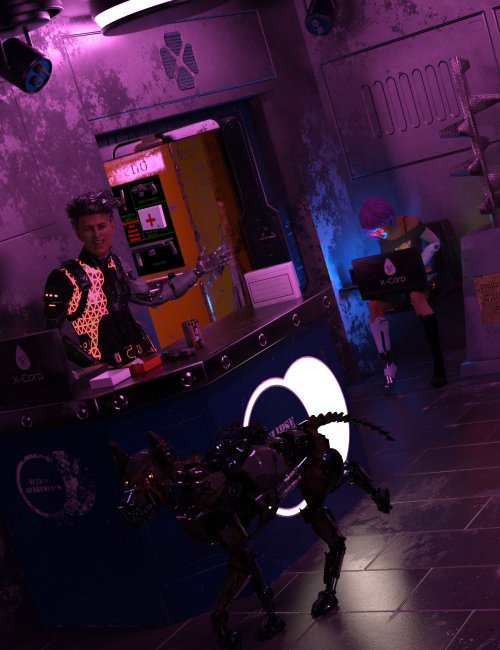 Compact Cyberpunk Apartment Lobby
