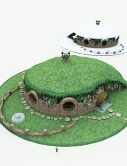 Halfling Village Manor for Poser