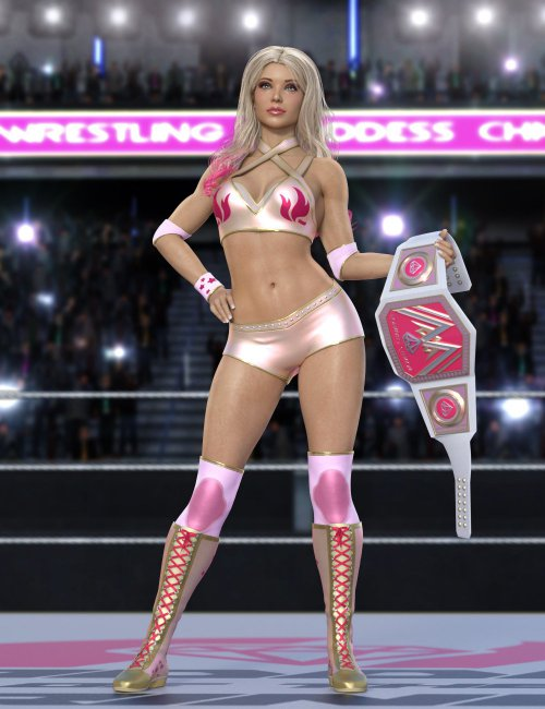 Wrestling Goddess Outfit and Hair for Genesis 8 and Genesis 8.1 Females