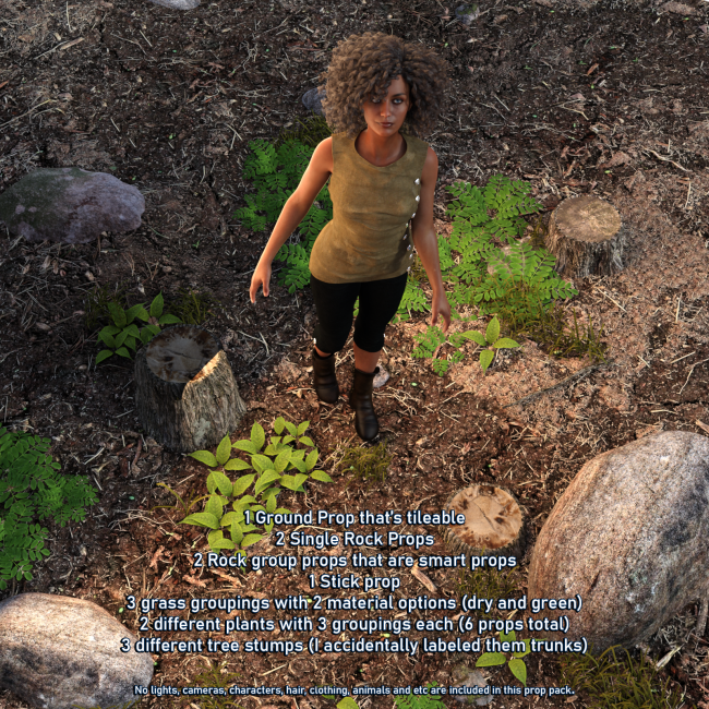 Tileable Dirty Ground and Props For Iray
