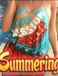 Summering for dForce Sandy Tank & Shorts for Genesis 8 Females