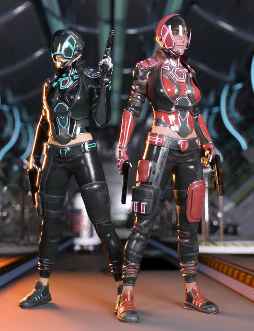 Sci-Fi Urban Warrior Outfit for Genesis 8 and Genesis 8.1 Females
