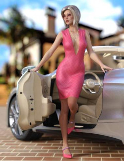 dForce V Neck Dress Outfit and Hair For Genesis 8 and 8.1 Females