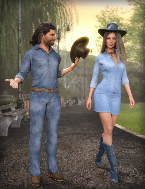 MD dForce Classic Jeans Outfit for Genesis 8 and 8.1 Bundle