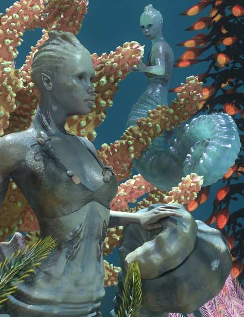 SeaHorse Coralia for Genesis 8.1 Female and for Seahorse Tails
