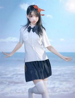 dForce Sue Yee School Uniform for Genesis 8 and 8.1 Females