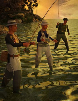 Fly Fishing Poses for Genesis 8 Males