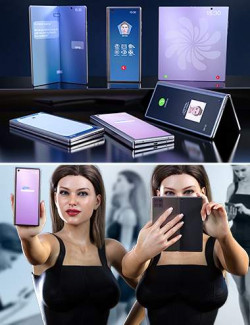 Z Folding Smartphone and Poses Mega Set for Genesis 8 and 8.1 Female