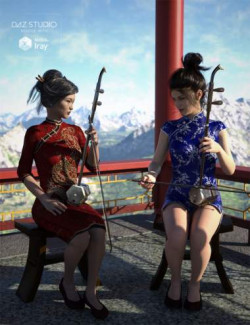 Chinese Erhu and Poses for Genesis 3 and 8 Female(s)