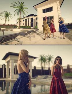 28 HDRIs - Luxury Pool Mansion Sunset