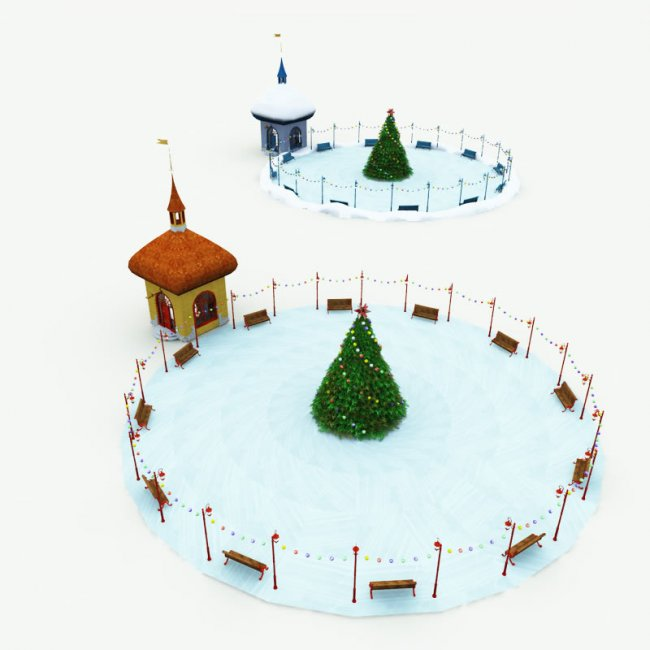 North Pole Ice Skating Rink for Poser