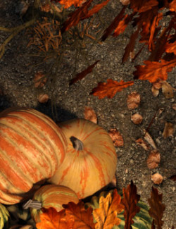 Tileable Fall Leaves Ground and Prop Set for Daz Studio Iray