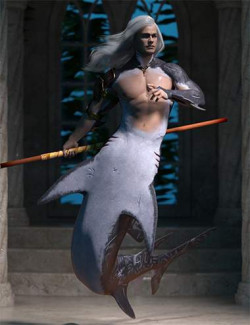 Scarred Hierarchical Poses for Genesis 8 Male and FPE Shark Tail