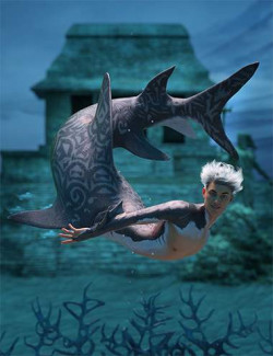 Shark Boy Hierarchical Poses for Genesis 8 Male and FPE Shark Tail