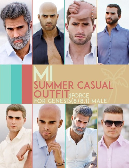 dForce MI Summer Casual Outfit for Genesis 8 and 8.1 Males