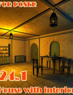 House with interior for Poser