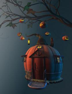 Autumn branch for Daz Studio