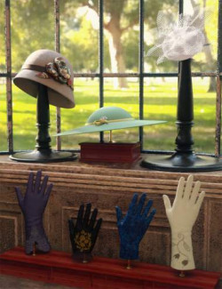 Vintage Hats and Gloves for Genesis 8 and 8.1 Females