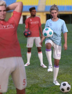 Kickabout Soccer Ball and Poses for Genesis 8 and 8.1 Male and Female