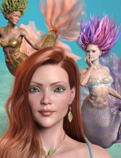 Marina Mermaid Triplet for Genesis 8.1 Female and Coral 8.1 Tail