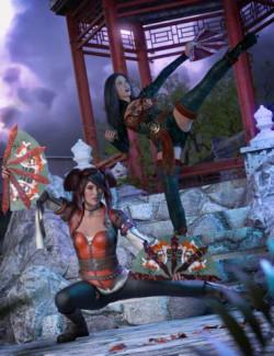Kogarashi: War Fans and Poses for Genesis 8.1 Female