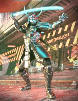 Samurai Cyberpunk Armor for Genesis 8.1 Female and Noska 8.1