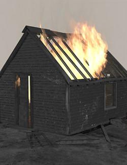 Burning house. Animation