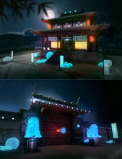Futuristic Samurai Compound - Environment and Props