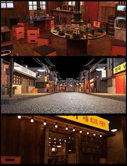 Korean Street, KBBQ Restaurant, and Poses