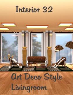 Interior 32 for DAZ Studio (Art Deco Style Livingroom)