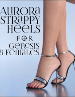 Aurora Strappy Heels for Genesis 8 Females