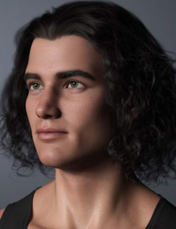 Curly Swept Style Hair for Genesis 8 and Genesis 8.1 Males