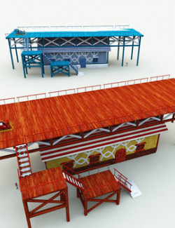 Santa Sleigh Garage and Launch Pad for Poser