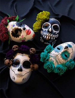 BW Day of the Dead Masks for Genesis 8 and 8.1 Females